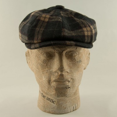 Tartan-bakerboy-cap-Charcoal-purple-Whiteley