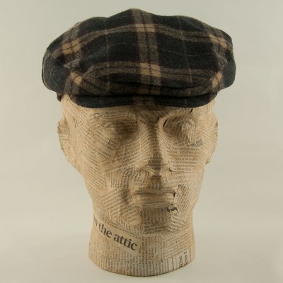 Tartan-flatcap-Charcoal-purple-Whiteley