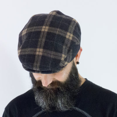 Purple/grey tartan wool flat cap