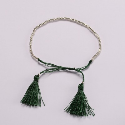 Beaded-braid-bracelet-Emerald-green-Amadoria