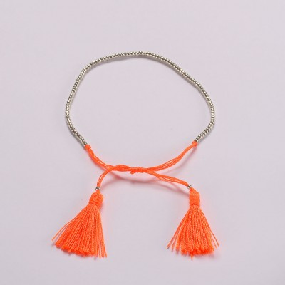 Beaded-braid-bracelet-Neon-orange-Amadoria