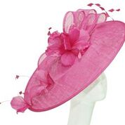 Fuchsia east/west disc wth feather flowers and bows