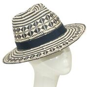 Navy/natural paper patterned fedora