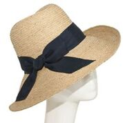 Raffia straw sunhat with navy band