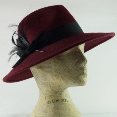 Feather fedora in wine